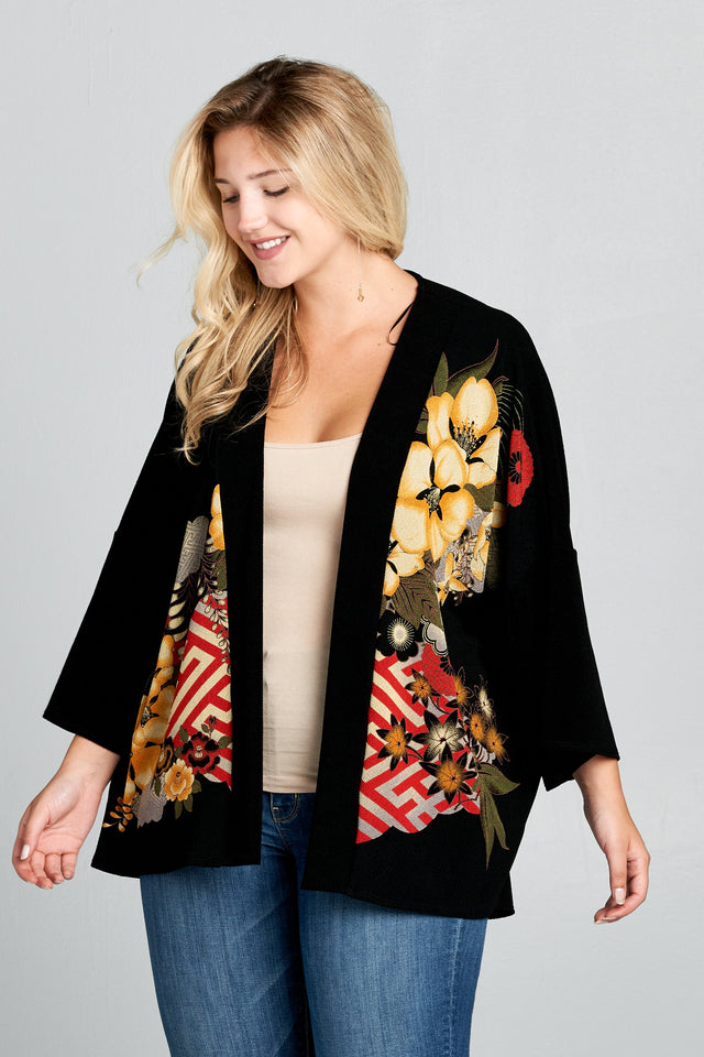 Women's Plus Size Short Length Open Cardigan - One Stop Quik Shop