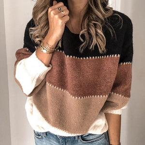 Women Warm Patchwork Color Knitted Sweater - One Stop Quik Shop