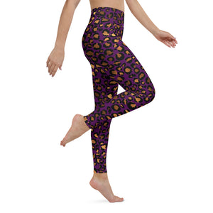 Women's High Waist Purple Leopard Print Leggings - One Stop Quik Shop