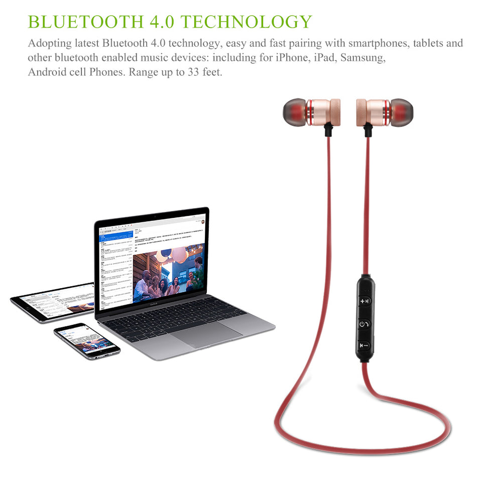 Wireless Bluetooth 4.0 Headset Sports - One Stop Quik Shop