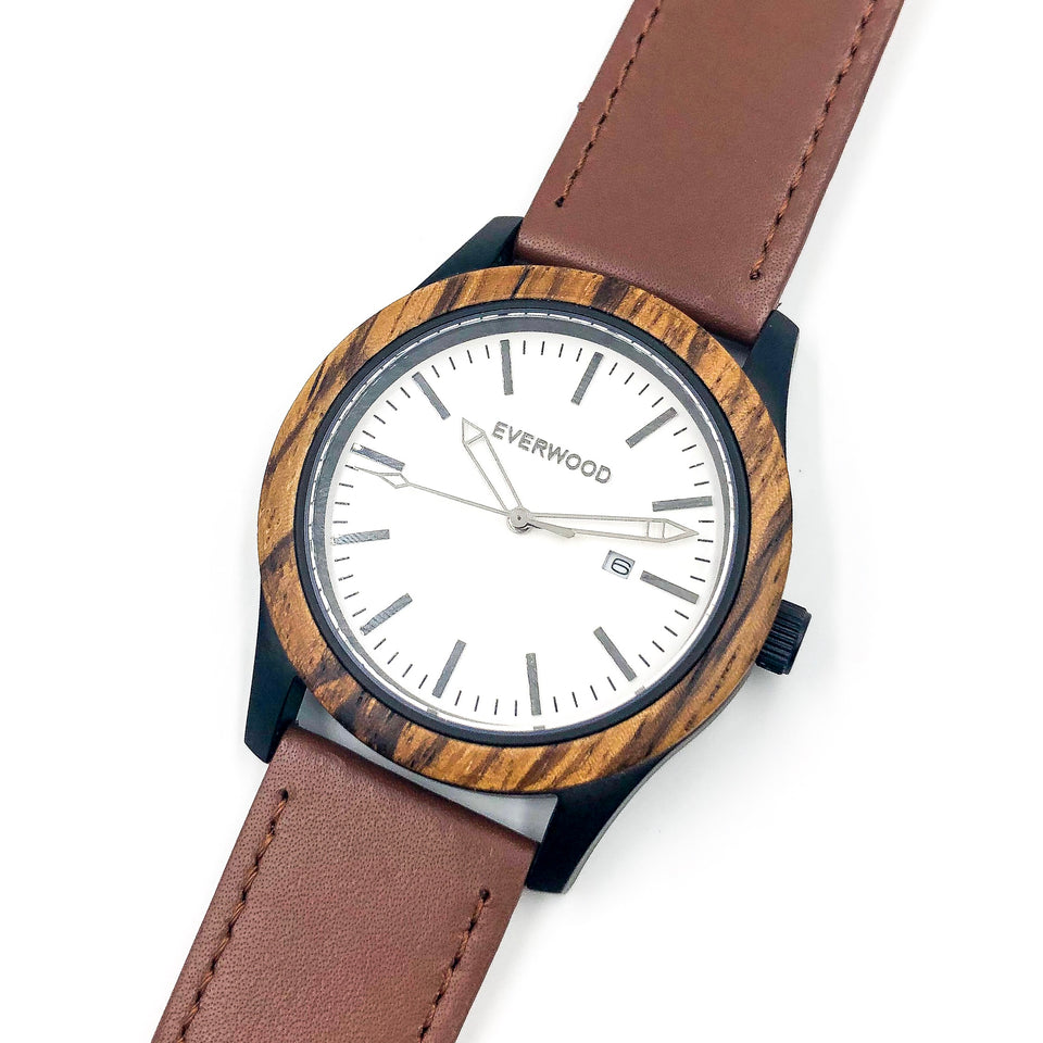 Unisex Zebrawood and Brown Leather Watch - One Stop Quik Shop