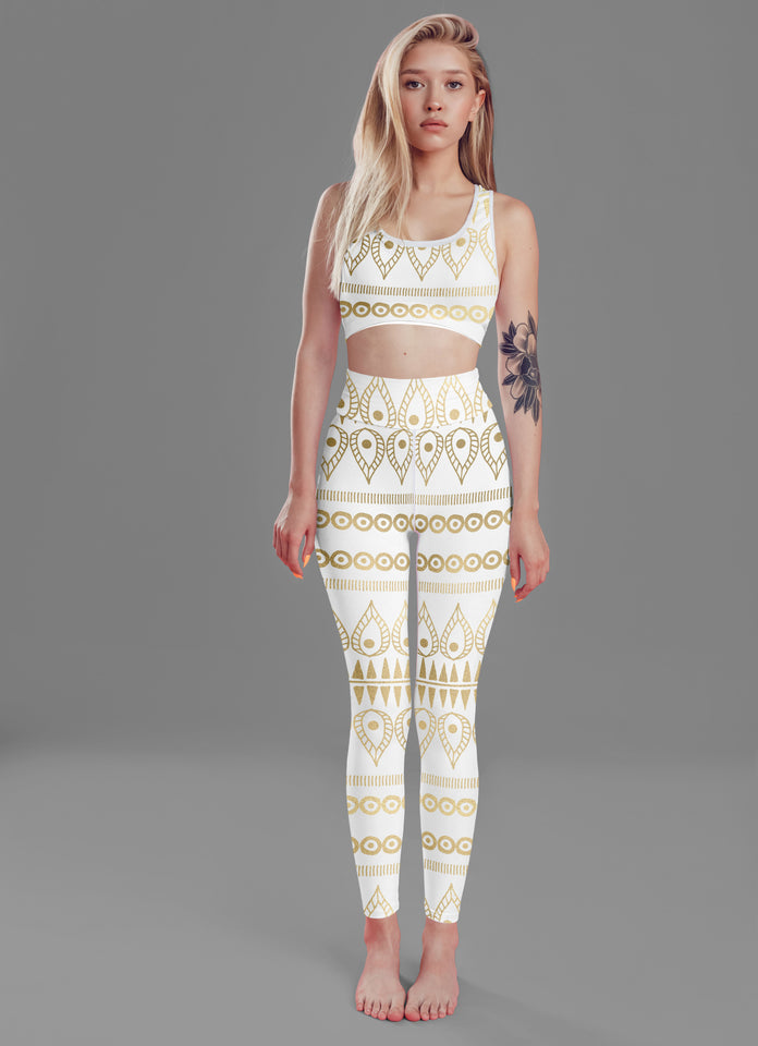 Women's White Boho Fitness Set - One Stop Quik Shop