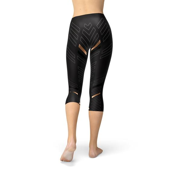 Womens Sports Stripes Black Capri Leggings - One Stop Quik Shop