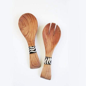 Mini Olive Wood African Salad Serving Set, hand curved wooden spoon - One Stop Quik Shop