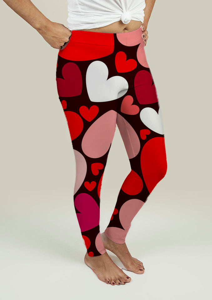 Leggings with Hearts Pattern - One Stop Quik Shop