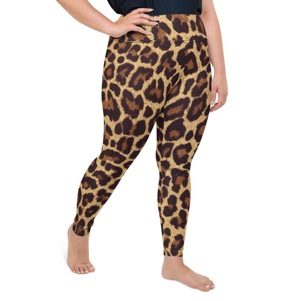 Women's Leopard Print Plus Size Leggings - One Stop Quik Shop