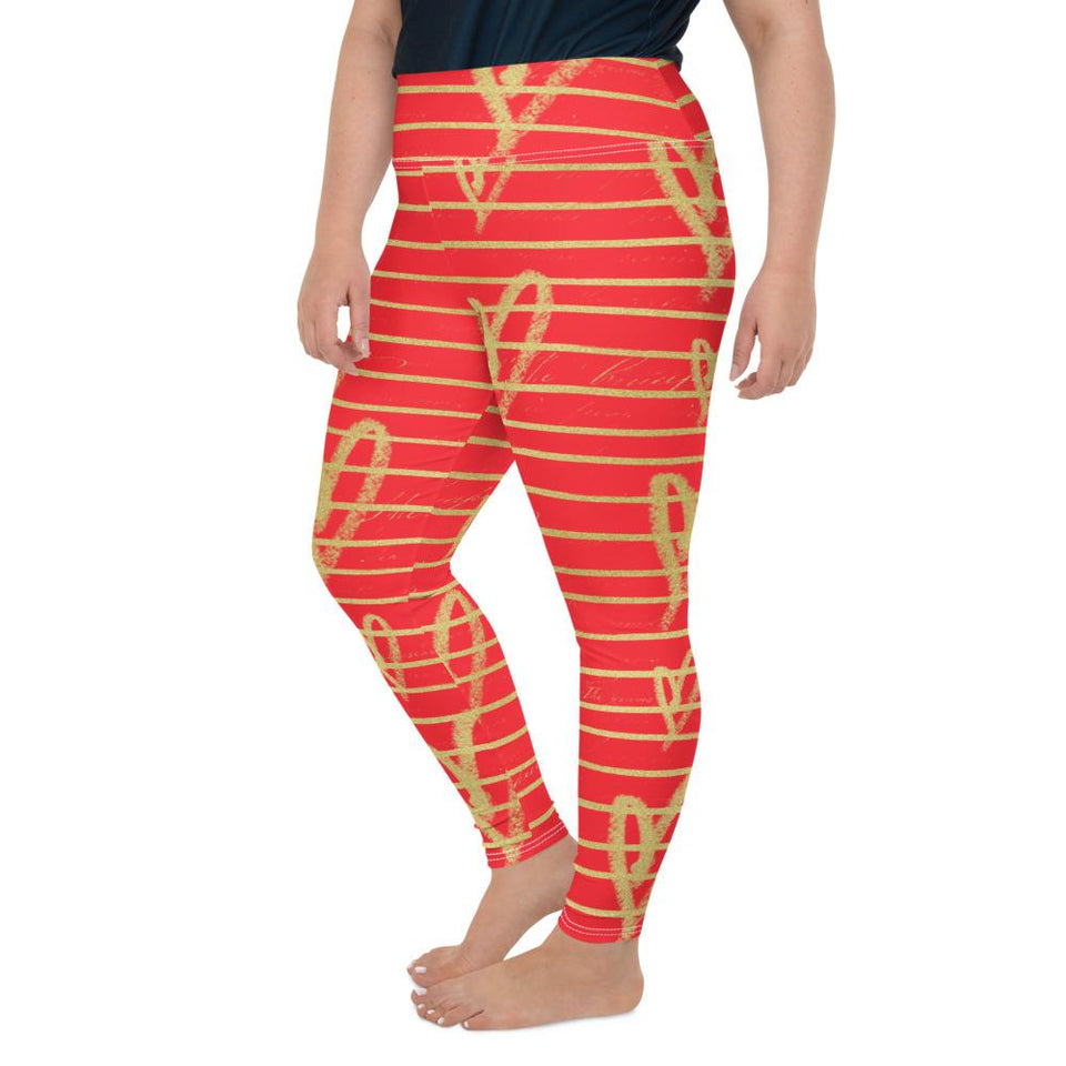 Women's Valentine's Day Red Gold Plus Size Leggings - One Stop Quik Shop