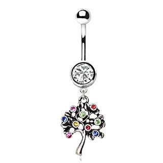 Unisex Stainless Steel Fruiting Tree of Life Dangle Navel Ring - One Stop Quik Shop