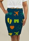 Pencil Skirt with Summer Theme - One Stop Quik Shop