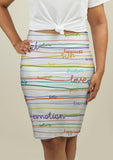 Pencil Skirt with Stripe Pattern with words - One Stop Quik Shop