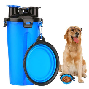 2 in 1 Dog Drinking Water Bottle with Bowls - One Stop Quik Shop