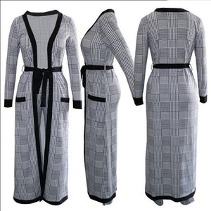 Women's Grey Houndstooth Long Cardigan Coat with Belt and Long Pants Trousers - One Stop Quik Shop