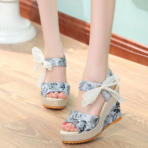 Women Bowknot Design Platform Wedge Sandals - One Stop Quik Shop