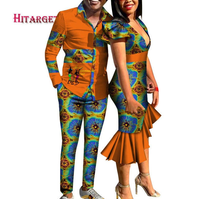 Dashiki Deep V Tight Mermaid Dress and Men Shirt Pant Set - One Stop Quik Shop