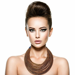 Women African Tribal Layered Wrapped Necklace - One Stop Quik Shop