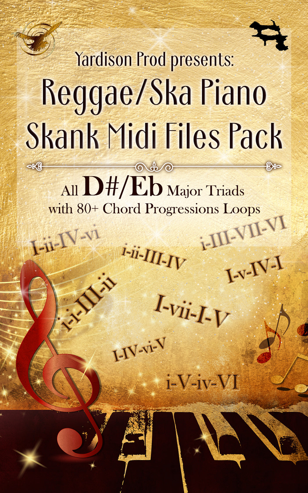 Reggae/Ska Piano Skank Midi Files Pack D#/Eb Major Triads With 80+ Chord Progressions Loops