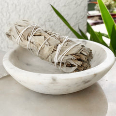 White Marble Smudge/Incense Bowl