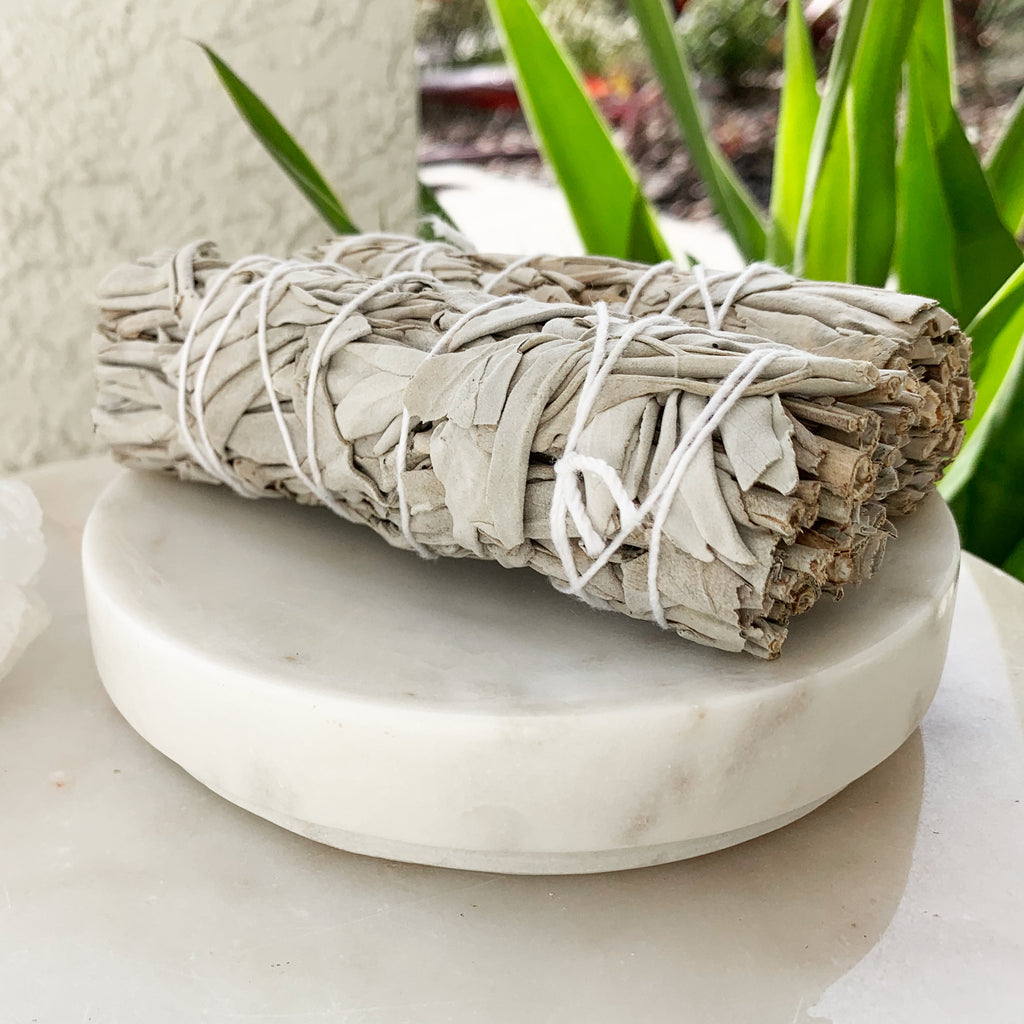 White Marble Smudge/Incense Dish
