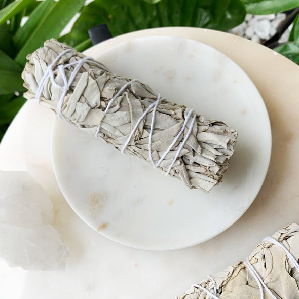 White Marble Dish and White Sage Smudge Kit