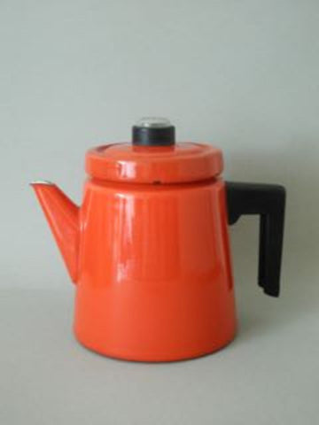 Red Enamel Arabia Coffee Pot