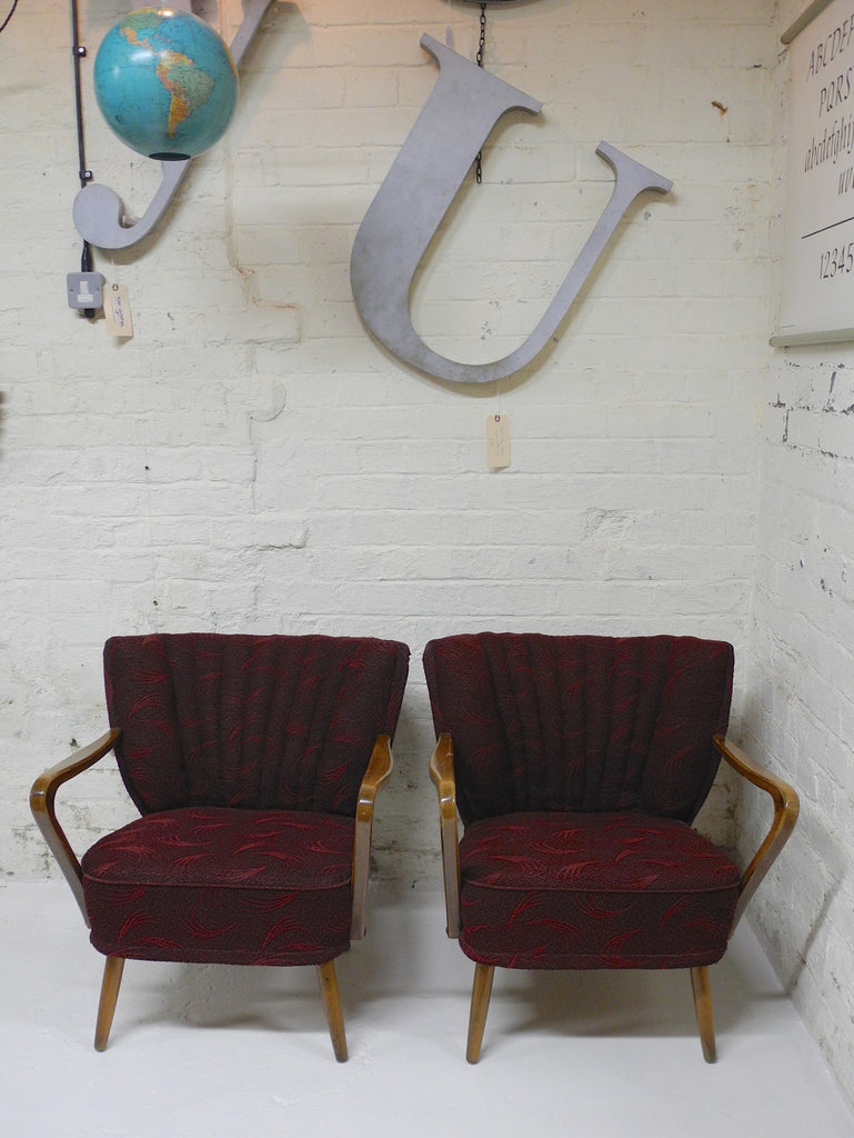 German cocktail chairs boudoir maroon