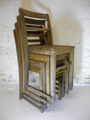 Four Stacking Oak Chairs