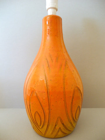 Orange Ceramic Scrafitto Pottery Lamp