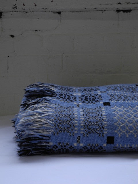 blue Welsh wool tapestry blanket