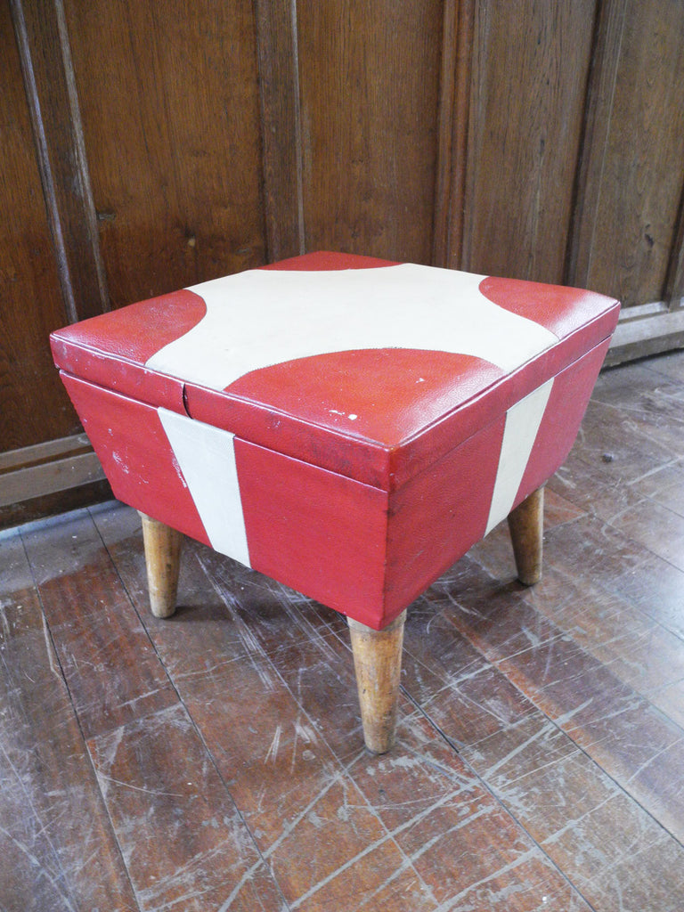 red and cream vinyl square storage footstool