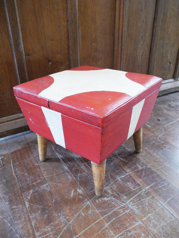 Red & Cream Footstool