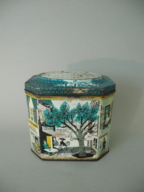 French Scene Vintage Green Tin