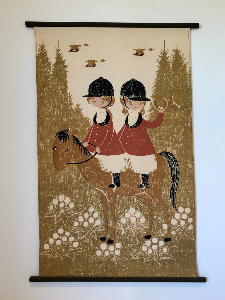 Preben Jangaard English Hunt Folk Wall Hanging Vintage Textile