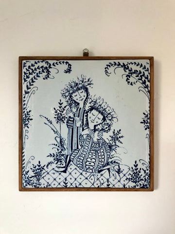 Bjorn Wiinblad Couples Illustration Framed Tile