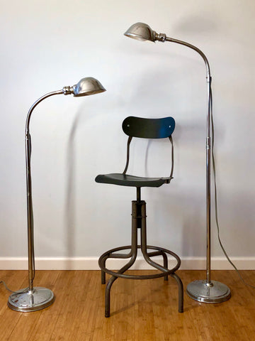 Ajusco Chrome Gooseneck Floor Lamps Pair