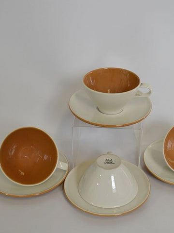 Ben Seibel Accent Orange Cups and Saucers for Iroquois