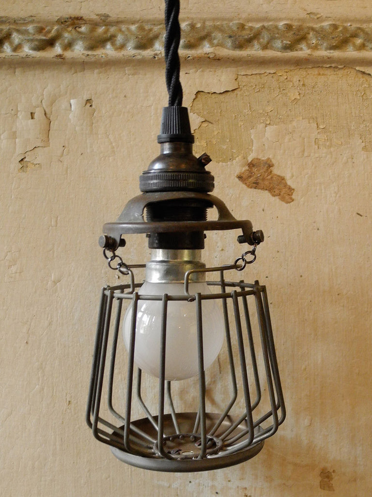 Upcycled Cage Pendant Single Bulb
