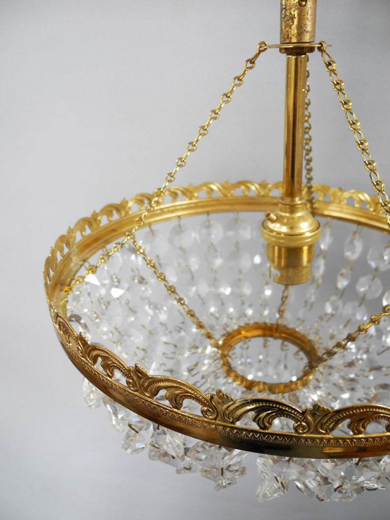 Crystal Brass Bag Chandelier 1950s