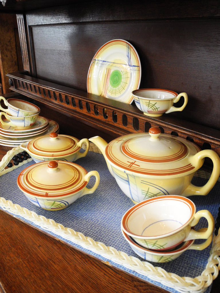 German Deco Yellow Tea Set