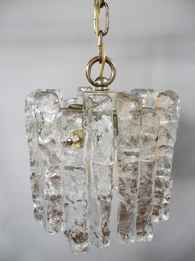 Ice Glass Pendant Lamp JJ Kalmar German 1960s