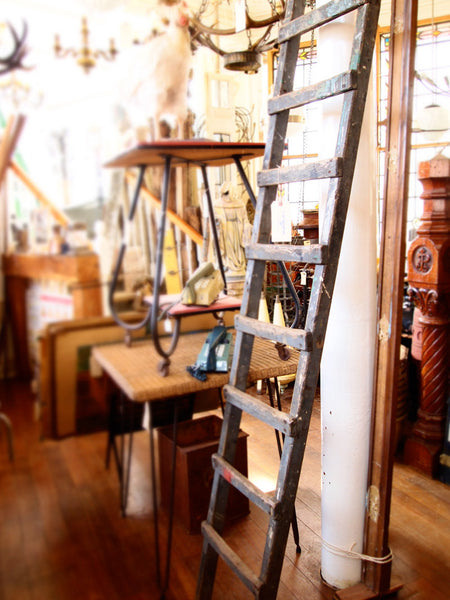 Antique Industrial Rustic Wooden Loft Ladder Victorian