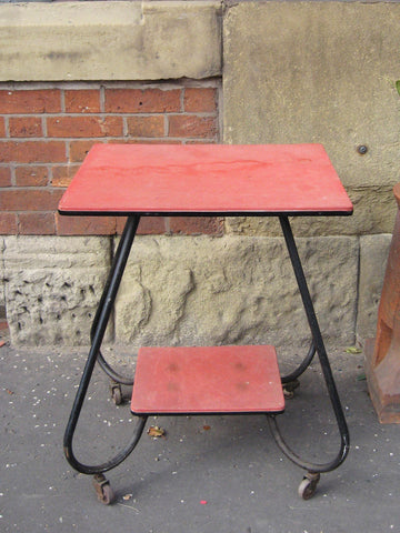 Red Tubular Leg Table