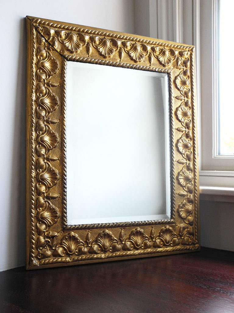 Antique Pressed Brass Mirror Palmette Bevel