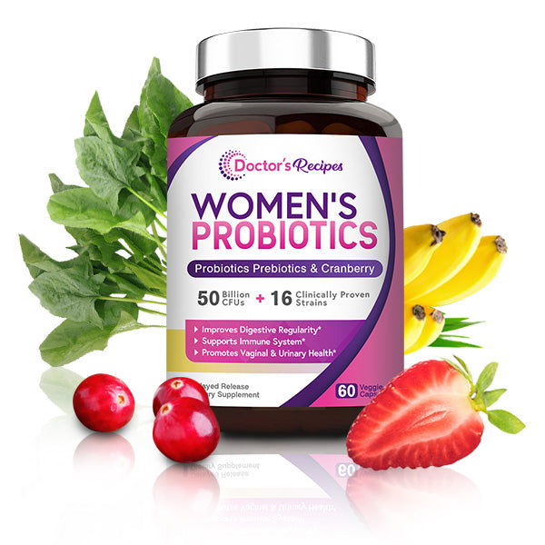 doctor's recipes women's probiotics bottle with fruits, vegetables, cranberry