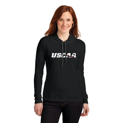 Ladies Long Sleeve Hooded Shirt