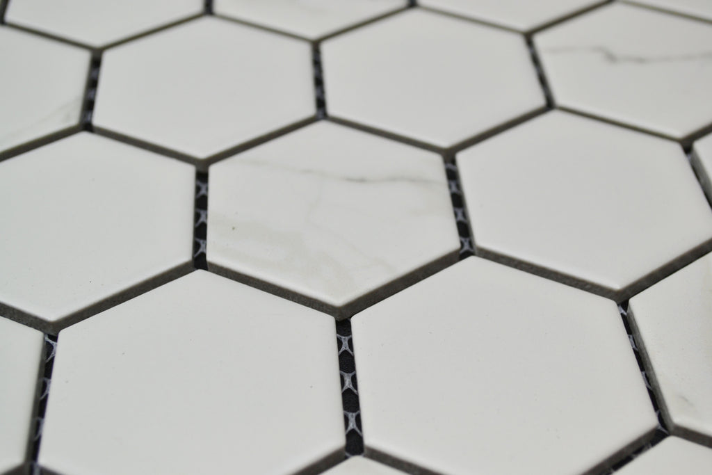 "2"" White Porcelain Marble Hex"