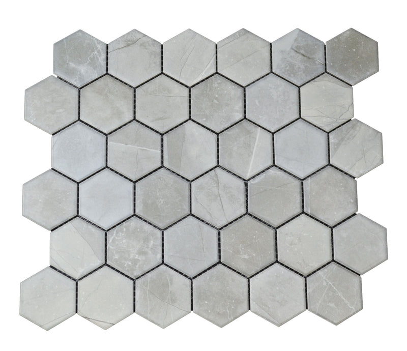 "2"" Gray Porcelain Marble Hex"