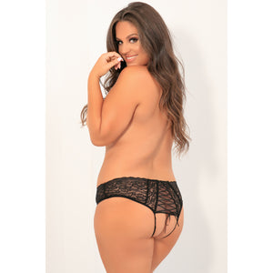 Rene Rofe - All Tied Up Open Back Panty 1X/2 (Black) | Zush.sg