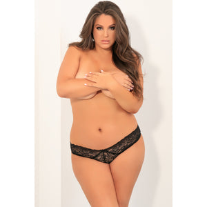 Rene Rofe - All Tied Up Open Back Panty 1X/2 (Black)