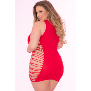 Pink Lipstick - Rule Breaker Open Side Dress Costume Queen (Red)