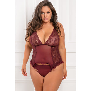 Rene Rofe - Grand Finale 2 Pieces Ruffle Teddy Costume 1X/2 (Red) | Zush.sg